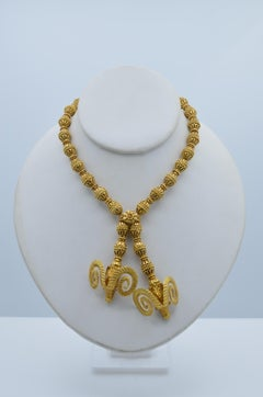 Lalaounis Two Horn Ram Head Gold Bead Necklace in Gold 18 Karat with Ruby Eyes
