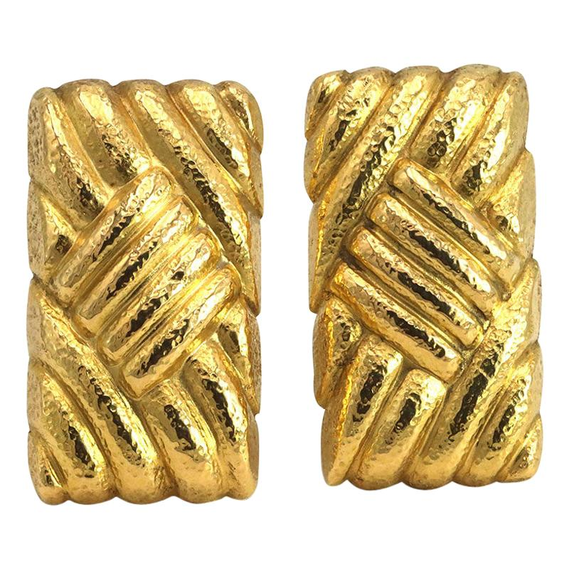 Lalaounis Vintage Yellow Gold Geometric Earrings