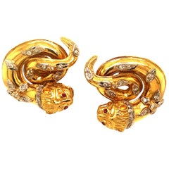 Lalaounis Yellow Gold Diamond and Ruby Clip-On Earrings