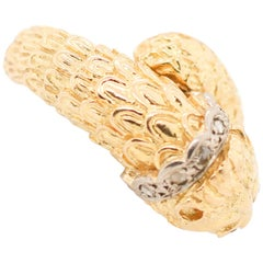 Lalaounis Yellow Gold Diamond Lion Ring