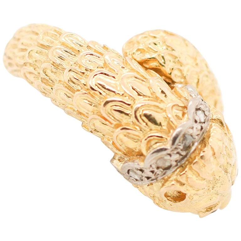 Lalaounis Yellow Gold Diamond Lion Ring For Sale