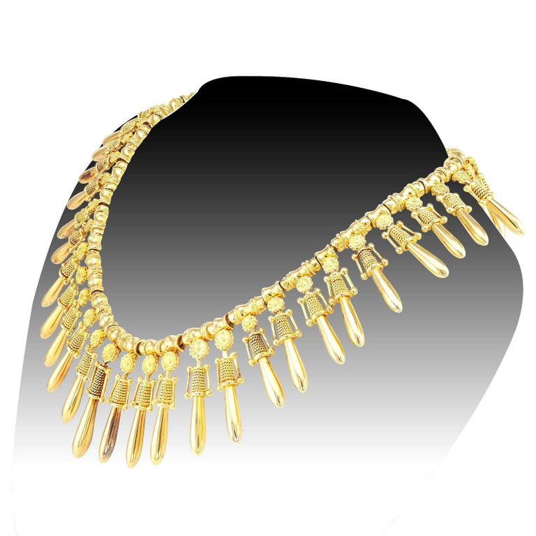 Byzantine Lalaounis Yellow Gold Fringe Necklace For Sale