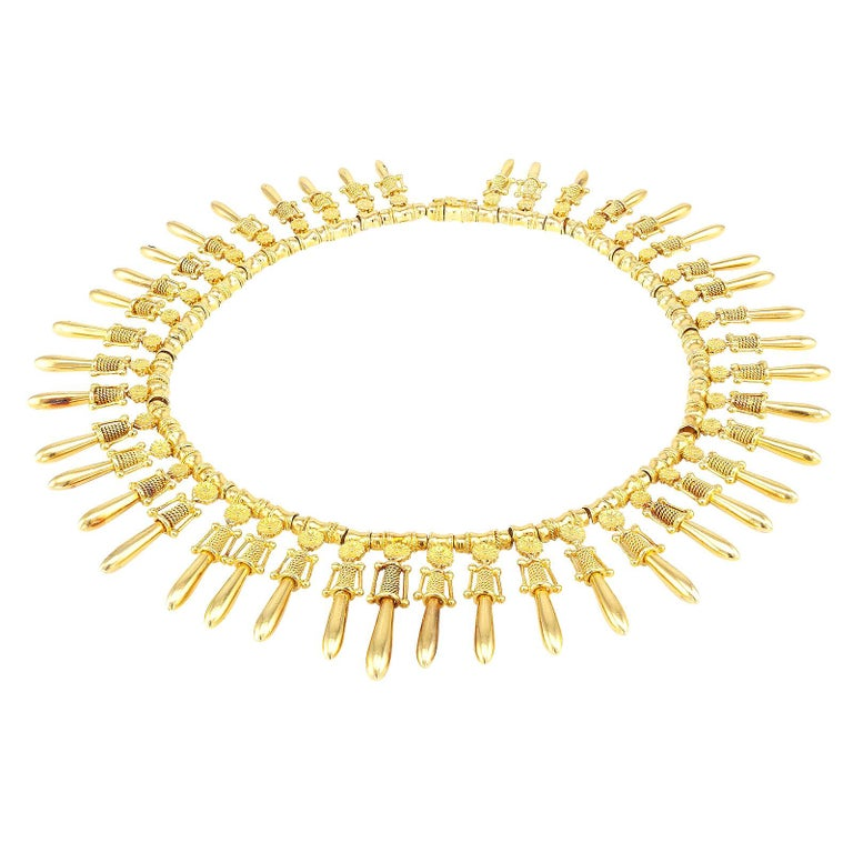 Lalaounis Yellow Gold Fringe Necklace In Good Condition For Sale In Los Angeles, CA