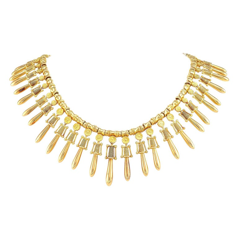 Lalaounis yellow-gold fringe necklace, ca. 1970, offered by Jacob's Diamond & Estate Jewelry