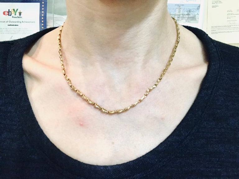 Women's or Men's Lalaounis Yellow Gold Tulip Link Chain Necklace