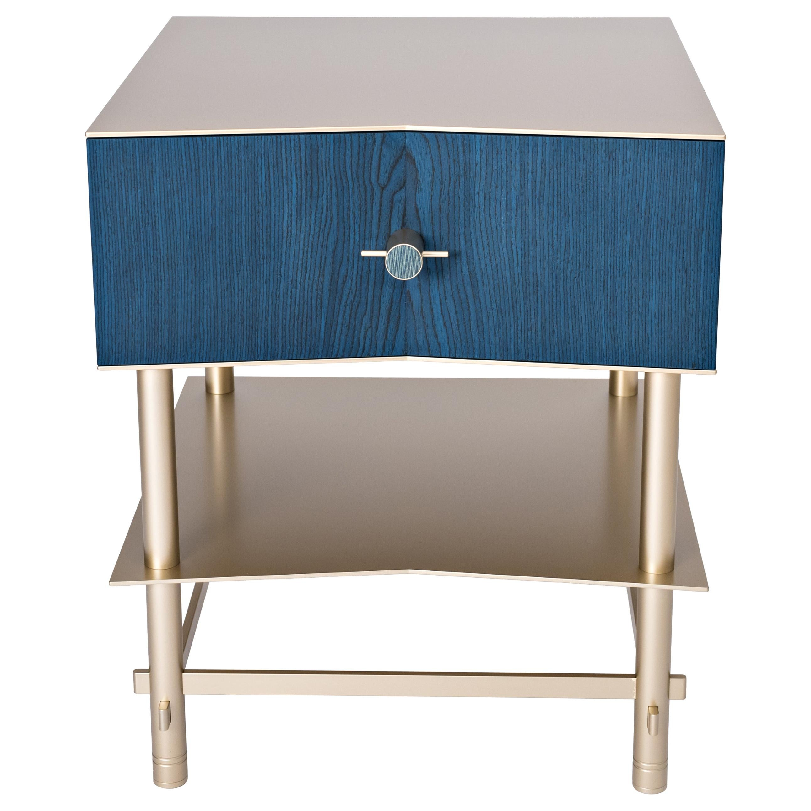 Lali Luxury Coffee/Bed Side Table, Metal Structure Jewel Handles & Wooden Drawer