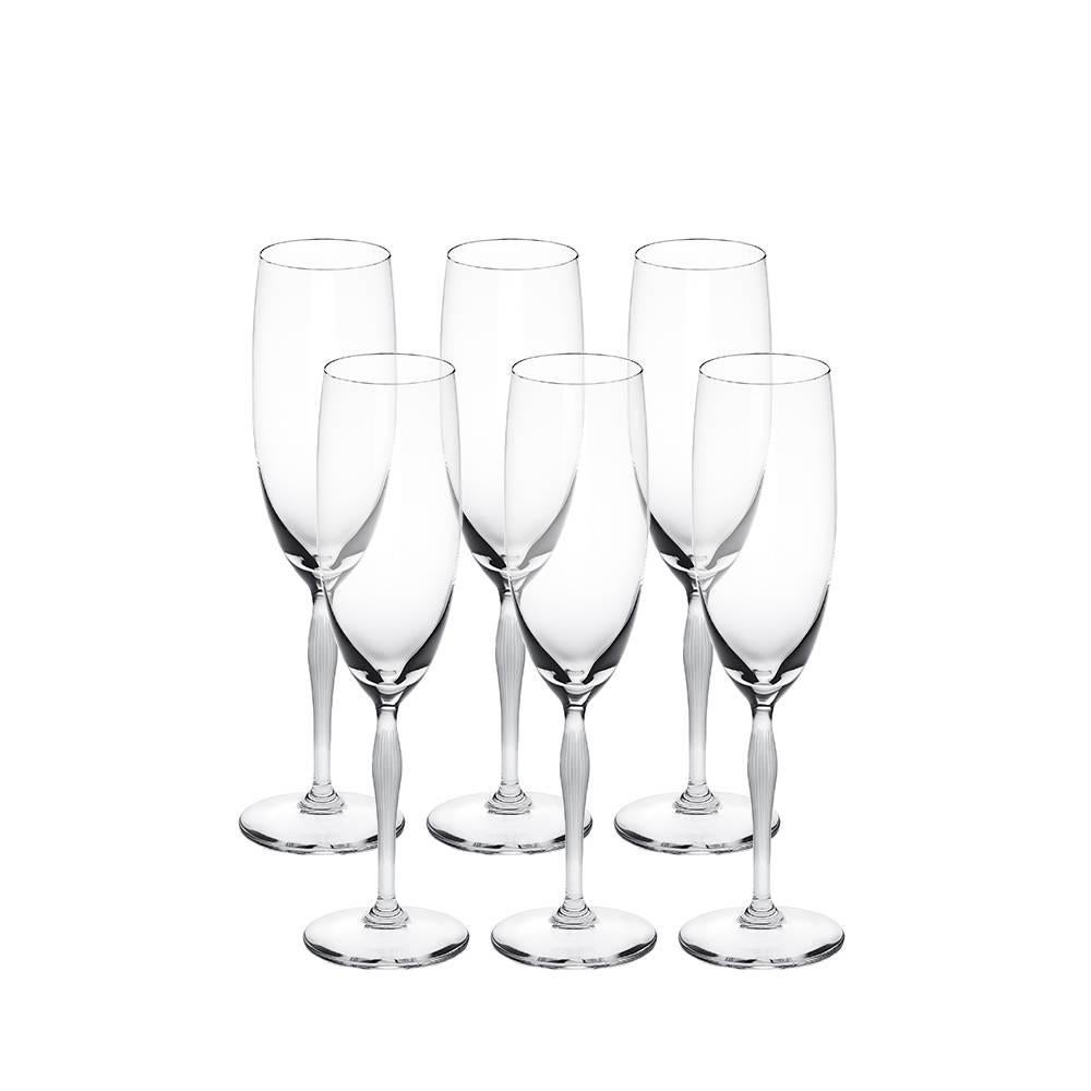 Lalique 100 Points Set of Six Champagne Flutes in Clear Crystal