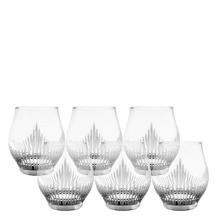 Lalique 100 Points Set of Six Whiskey Tumblers in Clear Crystal For Sale