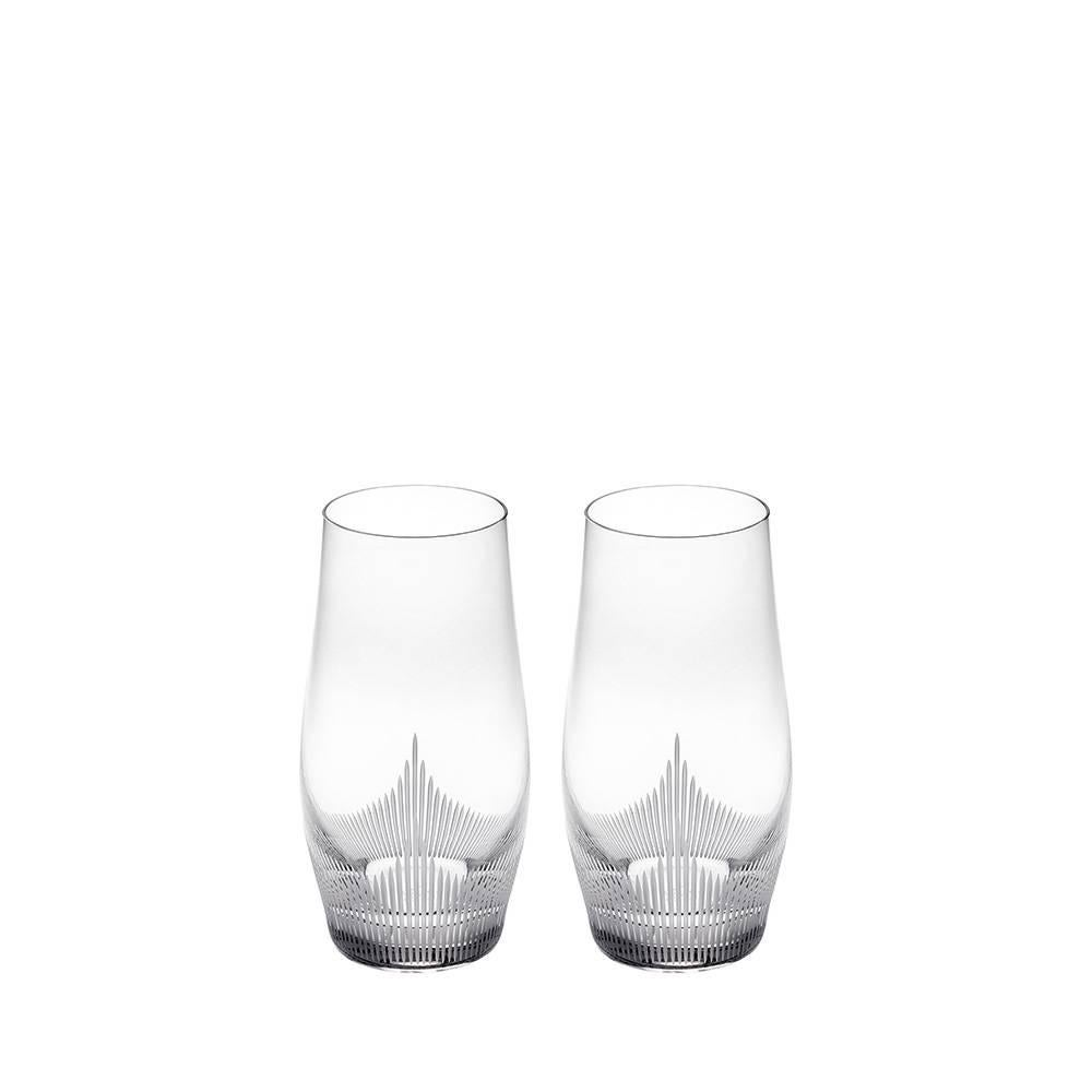 Lalique 100 Points Set of Two Longdrink Tumbler/Highball Glass in Clear Crystal