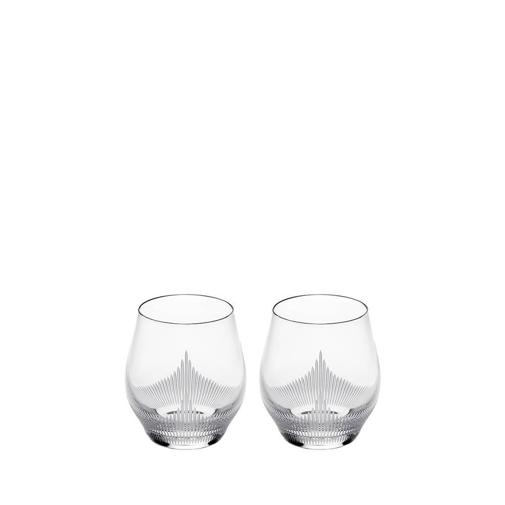 Lalique 100 Points Set of Two Whiskey Tumblers in Clear Crystal