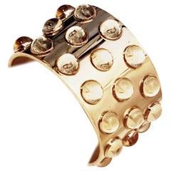 Lalique 18 Karat Vermeil Three-Row Crystal Mossi Cuff Bracelet