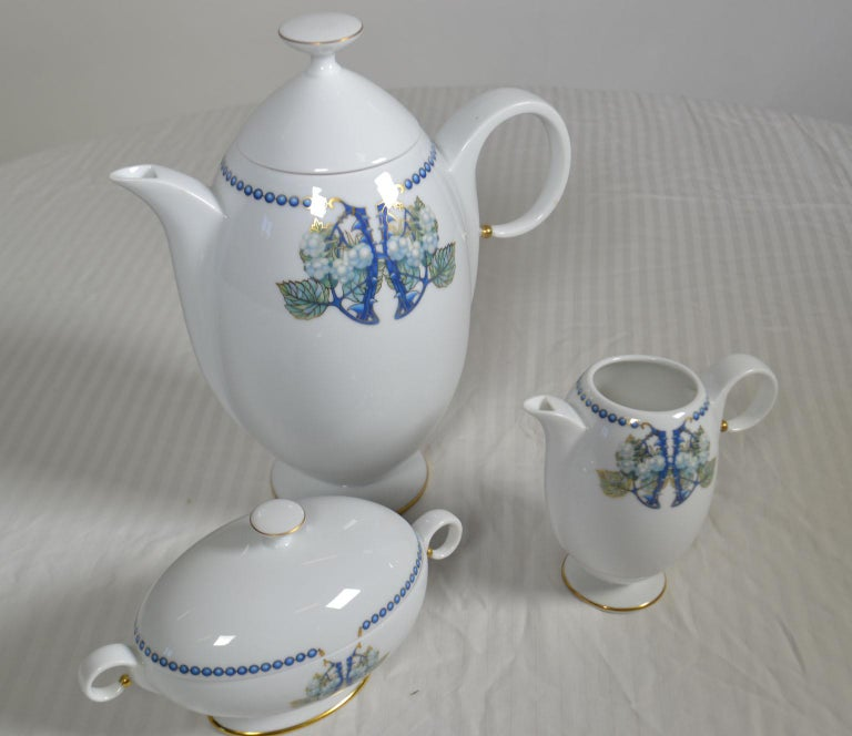 French Lalique 3-Piece Limoges Porcelain Mures Blackberry Coffee Set For Sale