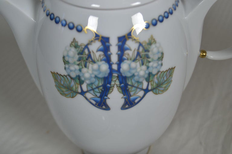 Hand-Painted Lalique 3-Piece Limoges Porcelain Mures Blackberry Coffee Set For Sale