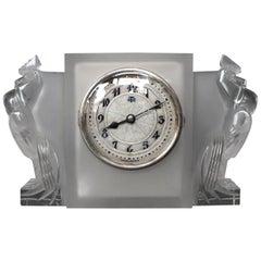 Lalique Art Deco Deux Coqs Clock