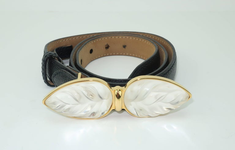 Lalique Art Glass Leaf Buckle With Black Leather Belt At 1stdibs