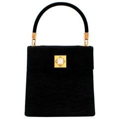 Lalique Black Suede Vintage Mini Top Handle Bag