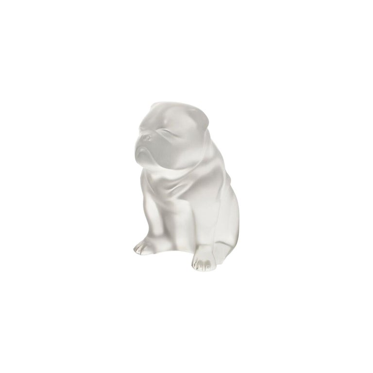 Lalique Bulldog Figure/Sculpture in Clear Crystal For Sale