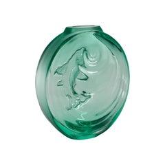 Lalique Carpe Koi Bud Vase Mint Green Crystal
