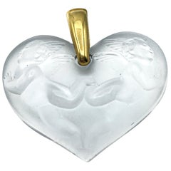 Lalique Carved Crystal Heart Pendant