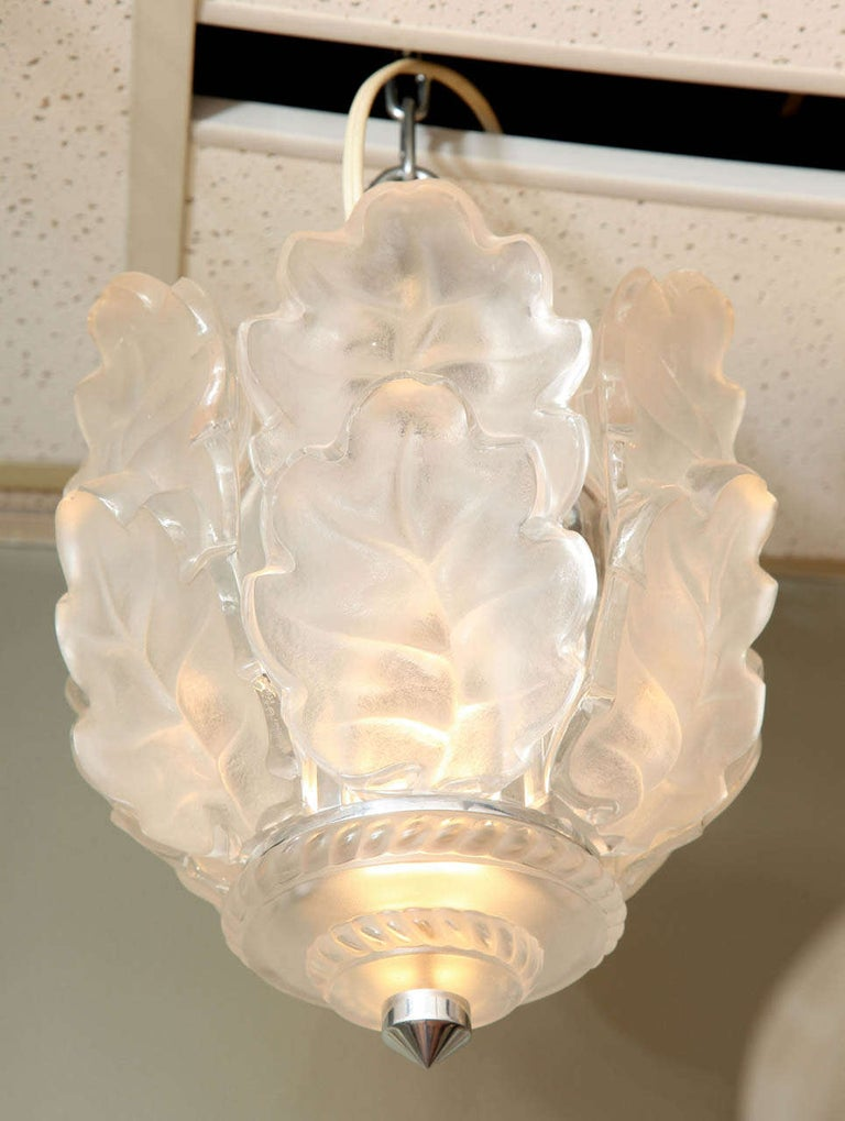 """Lalique Clear and frosted glass ceiling fixture """"Chene"""" (Oak), model originally designed by Marc Lalique c. 1955, diameter 10"""". Height 15"""
