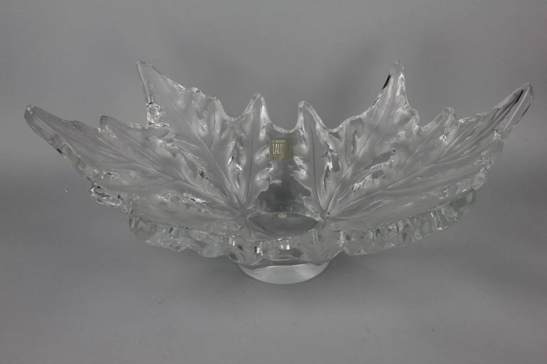 The oval bowl modelled as two sycamore leaves. Lalique no. 11216. Engraved Lalique, France.