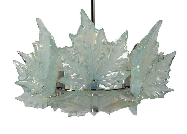 """A Marc Lalique """"Champs Élysées"""" chandelier, chromed metal, opalescent glass. Incised signature Lalique, France. As there are many """"Champs Élysées"""" in clear and frosted crystal, this one is the only one in opalescent crystal that we know. Measures:"""