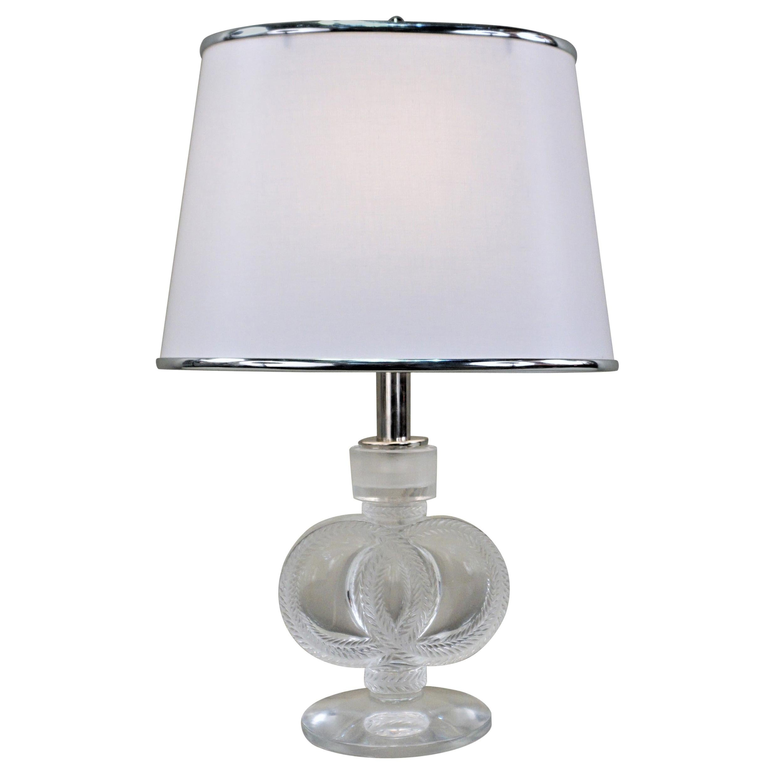Lalique Crystal 1930s Candlestick Table Lamp