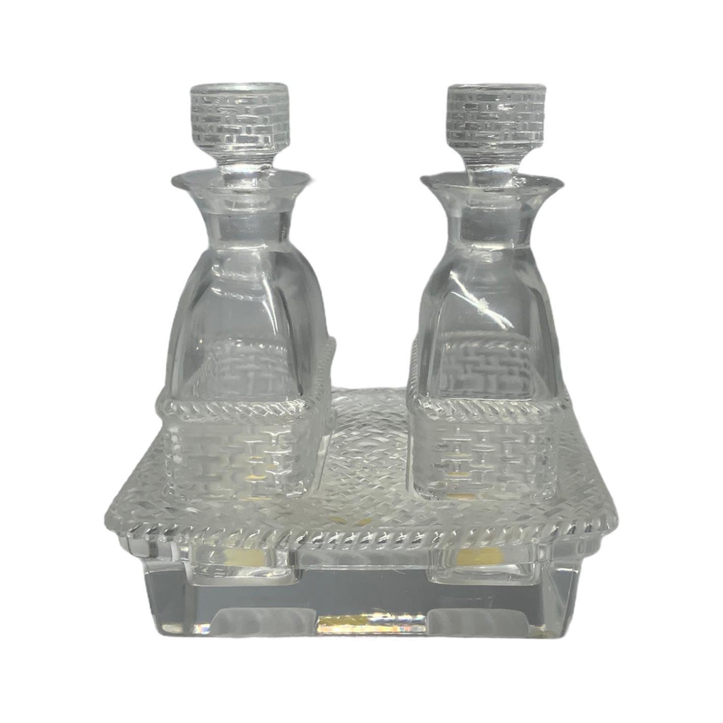 Lalique Crystal Bangkok Oil and Vinegar Cruet Set