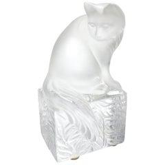 Lalique Crystal Curious Cat Sculpture Figurine