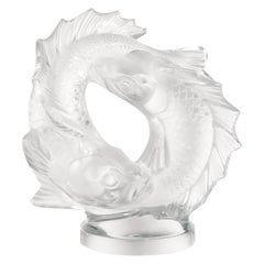 Lalique Double Fish Sculpture Clear Crystal