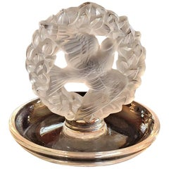 Lalique Dove Wreath Pin or Ring Dish