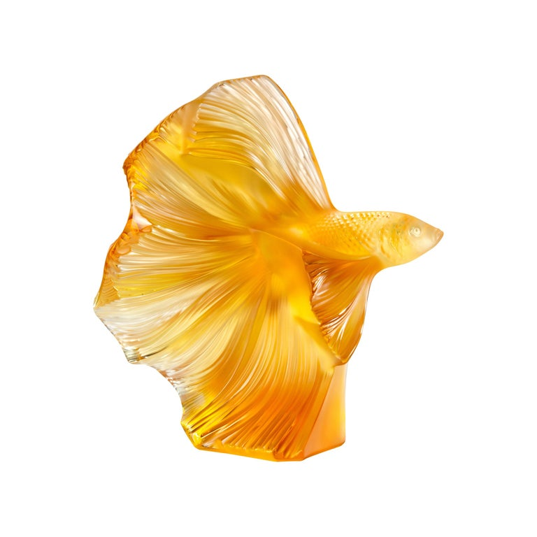 Lalique Fighting Fish Large Sculpture Amber Crystal For Sale