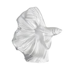 Lalique Fighting Fish Large Sculpture Clear Crystal