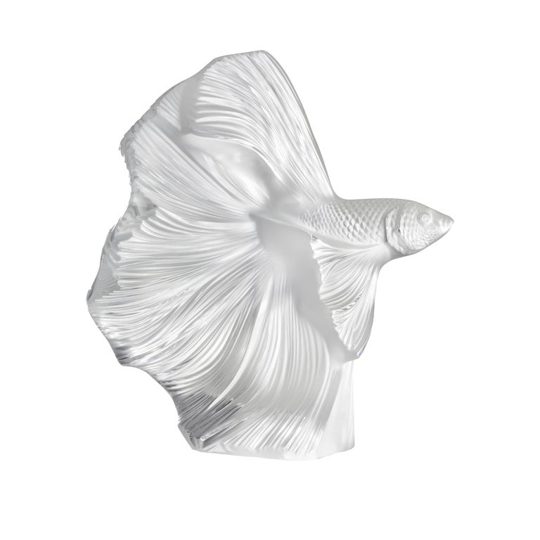 Lalique Fighting Fish Large Sculpture Clear Crystal For Sale