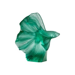 Lalique Fighting Fish Small Sculpture Mint Green Crystal