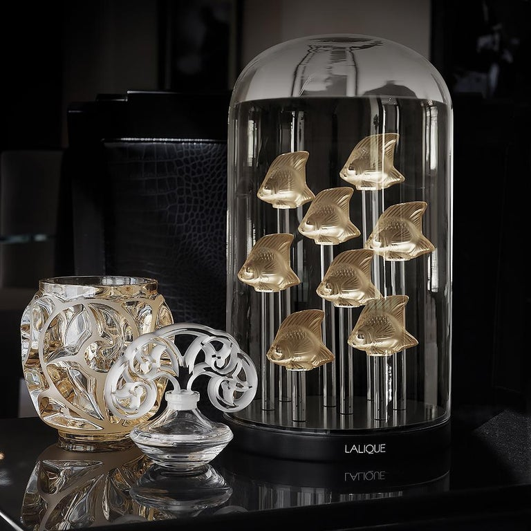 The original Fish in glass was designed in 1913 by René Lalique and has become an important and iconic piece in the Lalique universe. It first appeared in turquoise and has been re-issued in an extensive palette of colored crystal, meant to mix and
