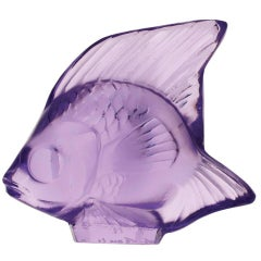 Lalique Fish Figure/Sculpture in Purple Crystal