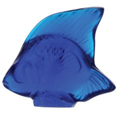 Lalique Fish Figure/Sculpture in Cap Ferrat Blue Crystal