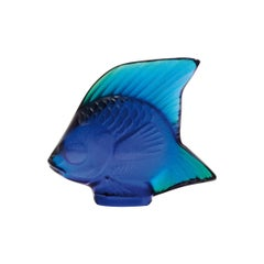 Lalique Fish Sculpture Cap Ferrat Blue Luster Crystal