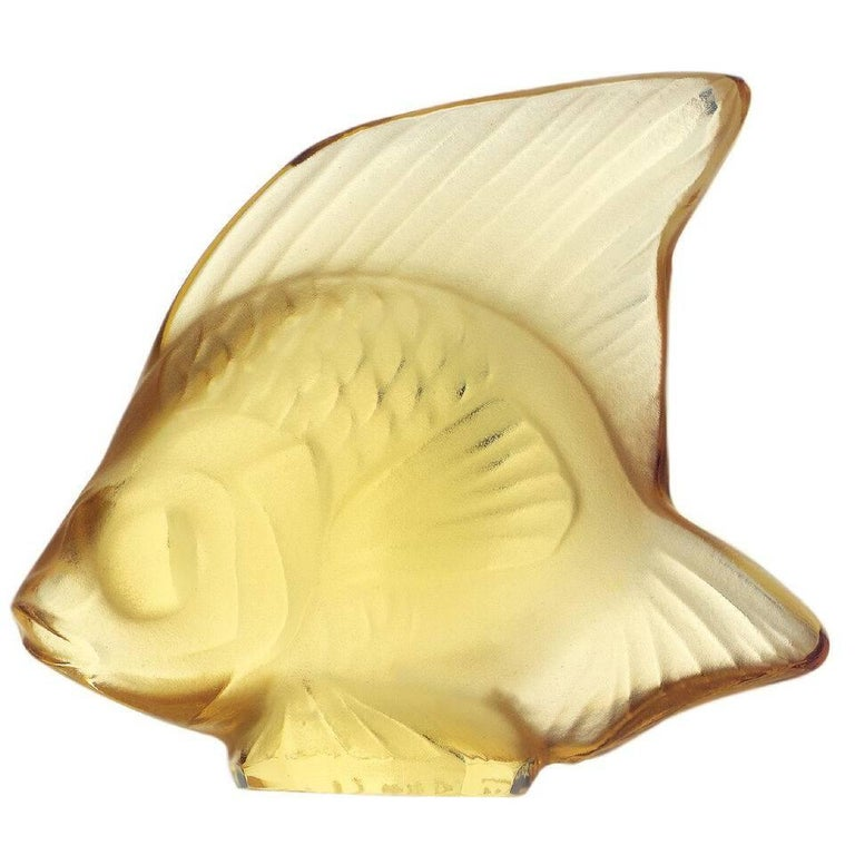 Lalique Fish Figure/Sculpture in Yellow Gold Crystal For Sale