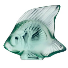 Lalique Fish Sculpture Mint Green Crystal