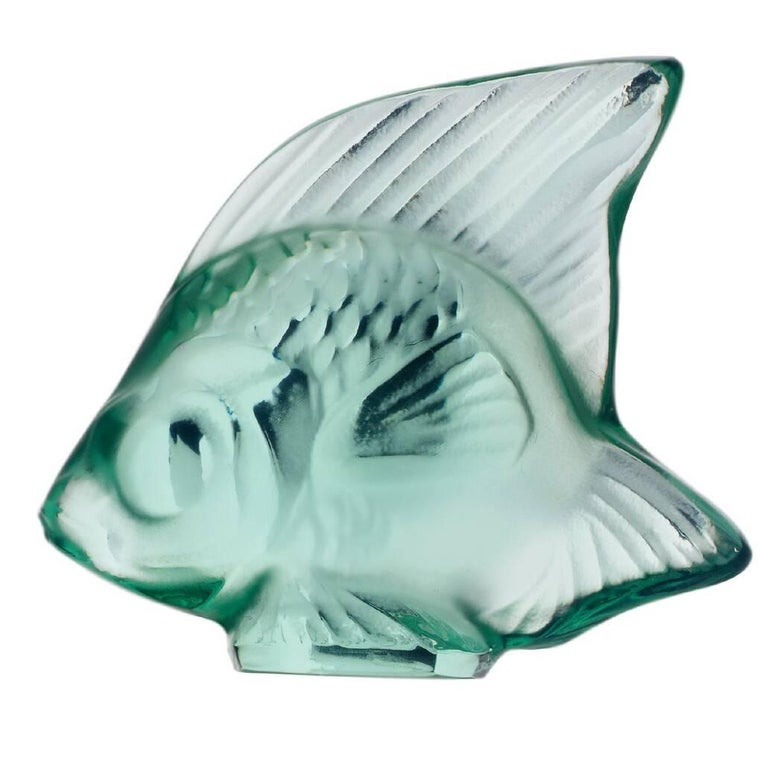 Lalique Fish Sculpture Mint Green Crystal For Sale