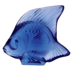 Lalique Fish Sculpture Sapphire Crystal