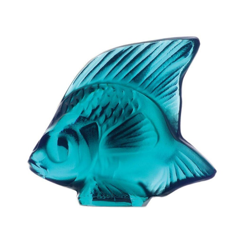 Lalique Fish Sculpture Turquoise Crystal For Sale