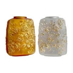 Lalique Fleurs De Cerisier Vase Clear Crystal Gold Stamped