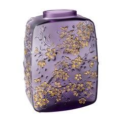 Lalique Fleurs De Cerisier Vase Purple Crystal Gold Stamped