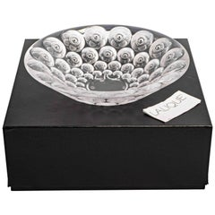 Lalique France Anemones Bowl in Clear Crystal with Black Enamel as New in Box