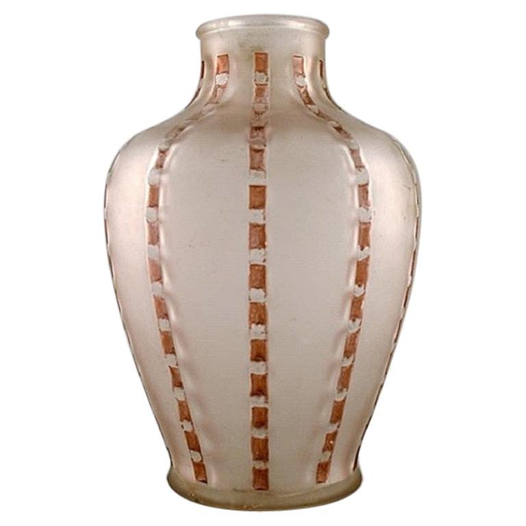 Lalique, France, Art Deco Vase in Mouth Blown Art Glass, circa 1920