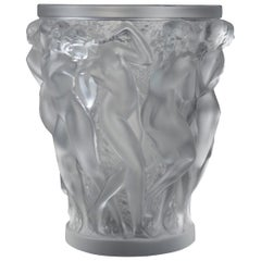 Lalique France Bacchantes Vase in Frosted Crystal Dancing Women