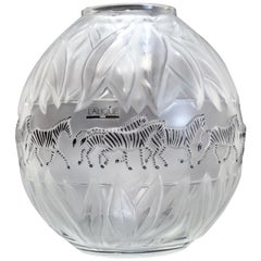 Lalique France Crystal Art Glass and Enamel Tanzania White Vase, Original Box